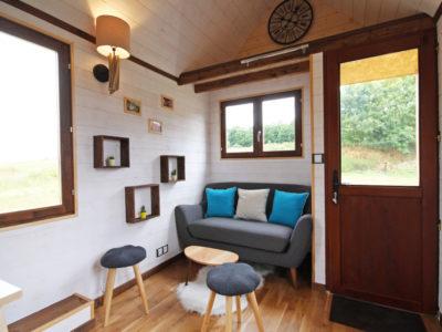 salon d'une Tiny House (chalet nomade)