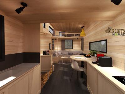 Tiny House La Familiale : cuisine aménagée et optimisée