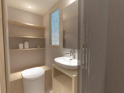 Tiny House La Familiale : salle de bain équipée d'un lavabon d'une douche et de toilettes