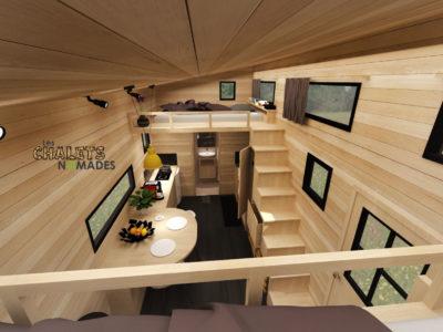 Tiny House La Familiale : 2 chambres avec 2 lits doubles et des rangements (en mezzanine)
