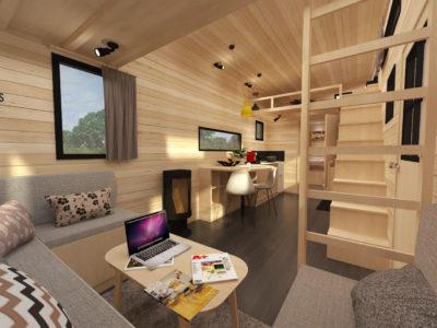 Tiny House La Familiale : salon équipé d'une table basse et d'un canapé