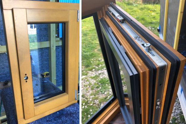 Les fenêtres de nos tiny houses sont en double vitrage. Ces menuiseries sont réalisées en aluminium, bois ou mixte (alu/bois/) avec un double joint d'étanchéité.