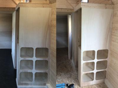 Aménagement de casiers et de placards de rangement indispensables à nos petits chalets roulant fabriqués dans le Perche Ornais, Eurélien et Sarthois entre Chartres, Le Mans et Alençon
