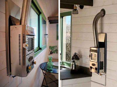 Intégration d'un poêle au gaz avec son conduit pour chauffer ce modèle de tiny house sur-mesure et 100% autonome pour 2 personnes avec une chambre fabriquée en Orne dans le Perche entre Le Mans (Sarthe), Alençon (Orne) et Chartres (Eure-et-loir)