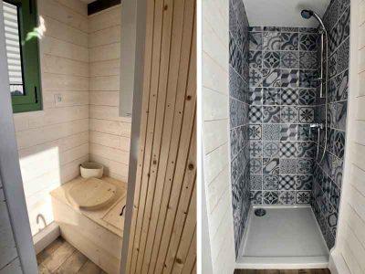 Les sanitaires ou salle d'eau contiennent les W.C. (toilettes sèches), un chauffe-eau instantané et une douche à l'italienne, une VMC pour ce modèle Harmonie ( personnes) réalisé dans le Perche (Sarthe, orne et Eure et loir) près de Chartres, Le Mans et Alençon.